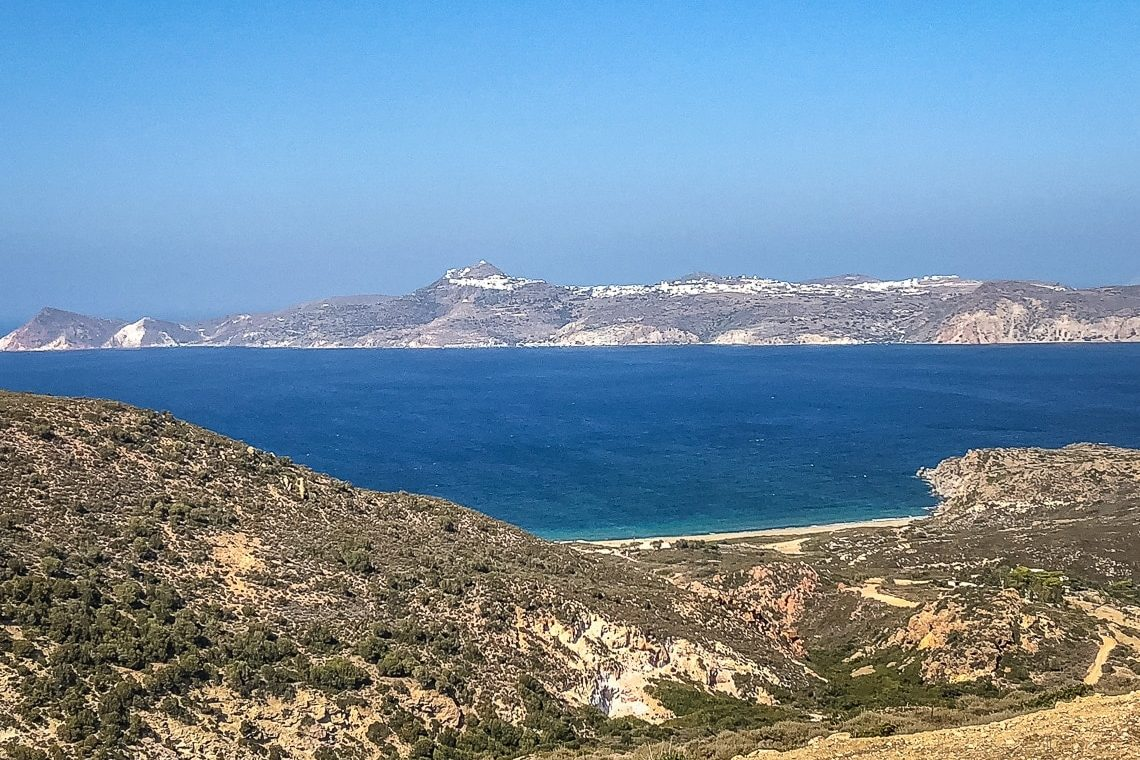 Achivadolimni beach bay with a view of Adamas port