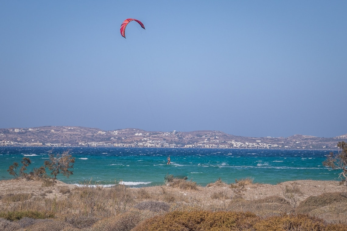 wind surfers on one of the western beaches in Milos