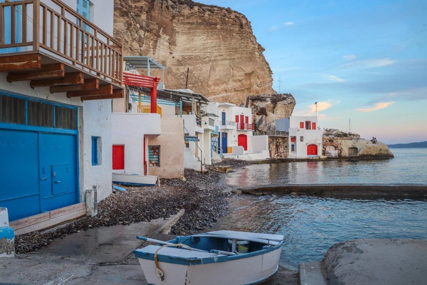 colourful fishermen houses along the sea in Klima