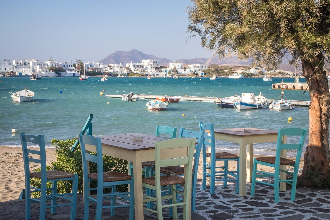 dining tables in Pollonia overlooking the Aegean Sea in Milos