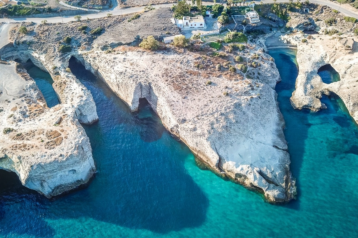 drone view of Papafragas and Kapros beaches